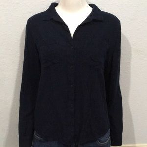 Cloth & Stone Navy Button Down Blouse Size Small